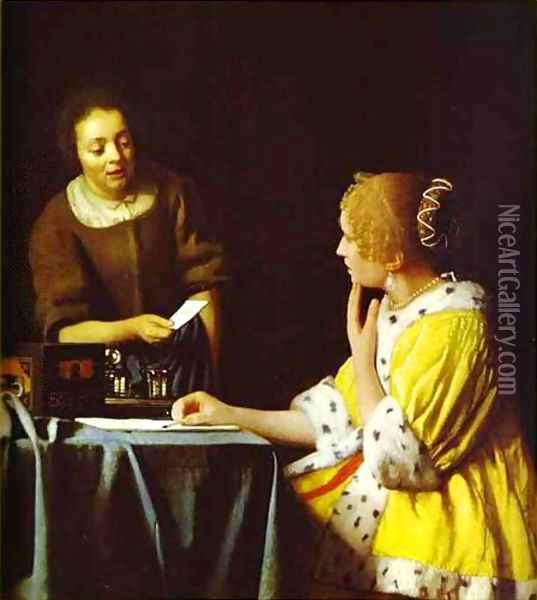 Lady Standing At A Virginal 1673-1675 Oil Painting - Jan Vermeer Van Delft