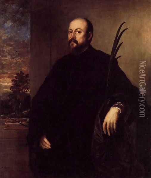 Portrait of a Man with a Palm 1561 Oil Painting - Tiziano Vecellio (Titian)