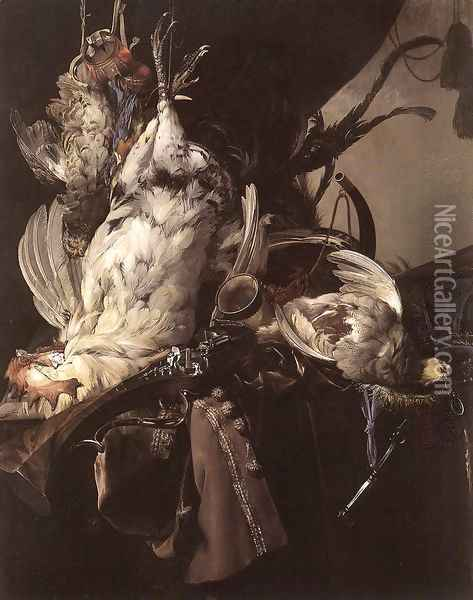 Still Life Of Dead Birds And Hunting Weapons 1660 Oil Painting - Willem Van Aelst