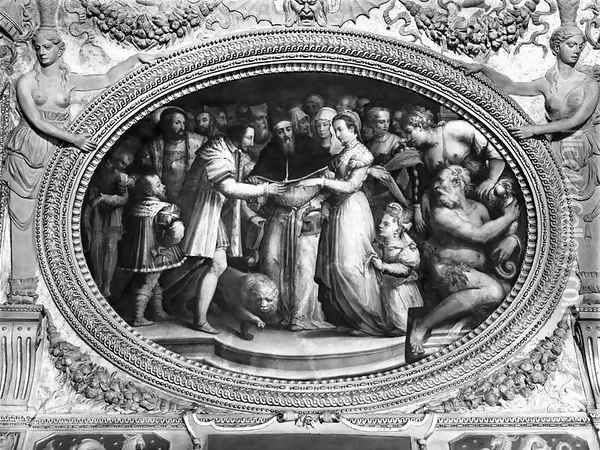 Pope Clement VII (1478-1534) marrying Catherine de Medici (1519-1589) and Henri II of France (1519-59) 28th October 1533, from the Sala di Clemente VII Oil Painting - Giorgio Vasari