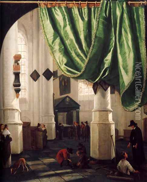 Interior of the Oude Kerk, Delft, with the Tomb of Piet Hein Oil Painting - Hendrick Van Vliet