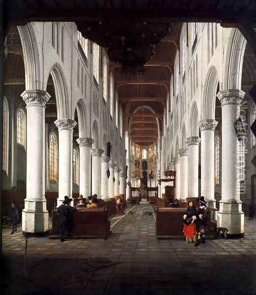 Interior of the Nieuwe Kerk, Delft, from beneath the Organ Loft at the Western E Oil Painting - Hendrick Van Vliet