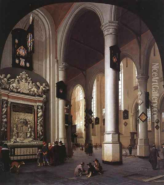 Interior of the Oude Kerk, Delft, with the Tomb of Admiral Tromp Oil Painting - Hendrick Van Vliet