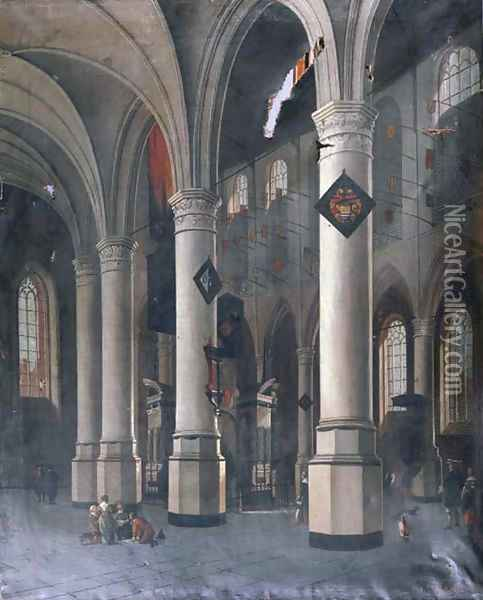 The interior of the New Church in Delft with the Tomb of William the Silent Oil Painting - Hendrick Van Vliet