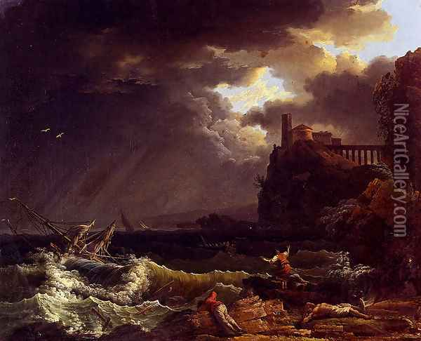 A Shipwreck In A Stormy Sea By The Coast Oil Painting - Claude-joseph Vernet