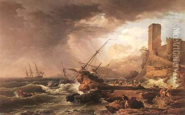 Storm with a Shipwreck 1754 Oil Painting - Claude-joseph Vernet