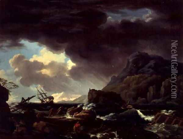 A Mediterranean coastal scene with ships foundering and castaways Oil Painting - Claude-joseph Vernet