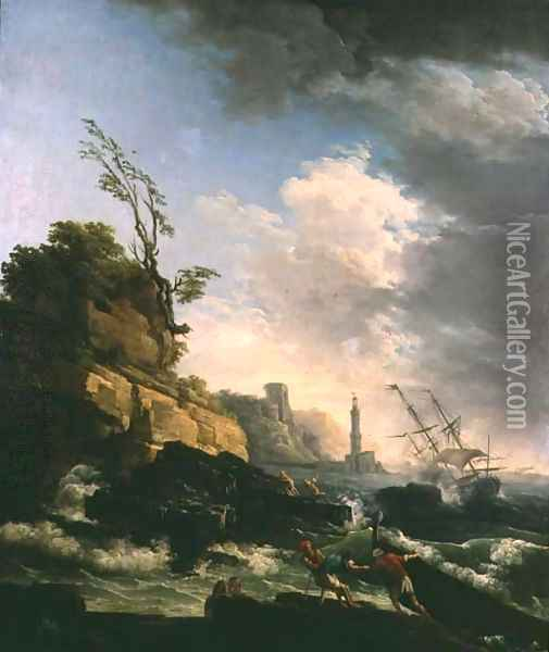 Storm on a Rocky Coast with shipwreck Oil Painting - Claude-joseph Vernet
