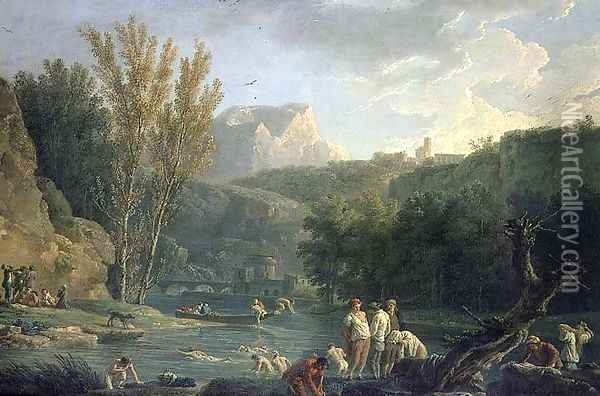 River Scene with Bathers Oil Painting - Claude-joseph Vernet