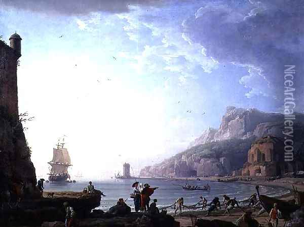 Morning scene in a bay, 1752 Oil Painting - Claude-joseph Vernet