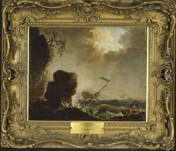 Storm and Wreck, c.1740 Oil Painting - Claude-joseph Vernet