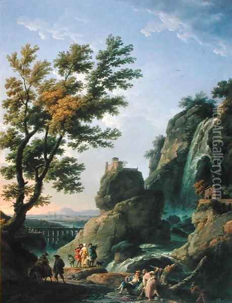 Landscape with Waterfall and Figures, 1768 Oil Painting - Claude-joseph Vernet