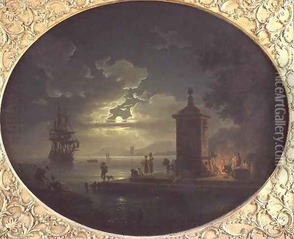 Night A Moonlit coastal landscape with Fisherfolk by a fire on a Quay, a Man of War beyond Oil Painting - Claude-joseph Vernet
