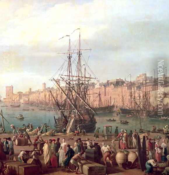 Morning View of the Inner Port of Marseille and the Pavilion of the Horloge du Parc, 1754 Oil Painting - Claude-joseph Vernet