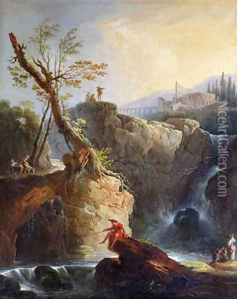 The Waterfall, 1773 Oil Painting - Claude-joseph Vernet