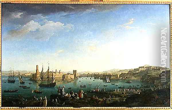 The Entrance to the Port of Marseilles, 1754 Oil Painting - Claude-joseph Vernet