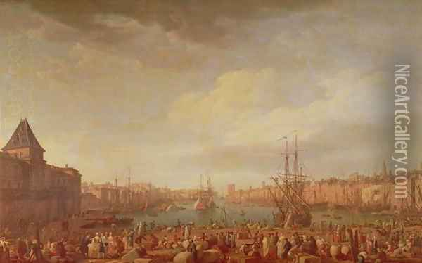 Morning View of the Inner Port of Marseille and the Pavilion of the Horloge du Parc, 1754 2 Oil Painting - Claude-joseph Vernet