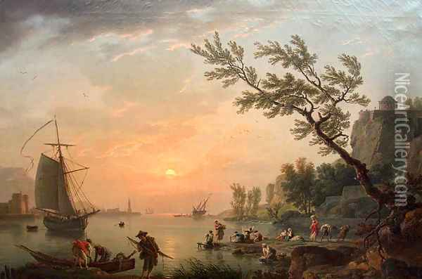 Sea port in a warm evening with the lighthouse Oil Painting - Claude-joseph Vernet