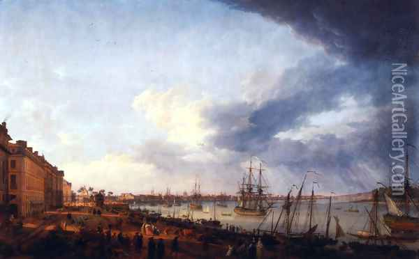 First view of the port of Bordeaux, taking the side of Salinières Oil Painting - Claude-joseph Vernet