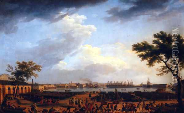 First view of the port of Toulon, for the Port-Neuf taken at the corner of Park artillery Oil Painting - Claude-joseph Vernet