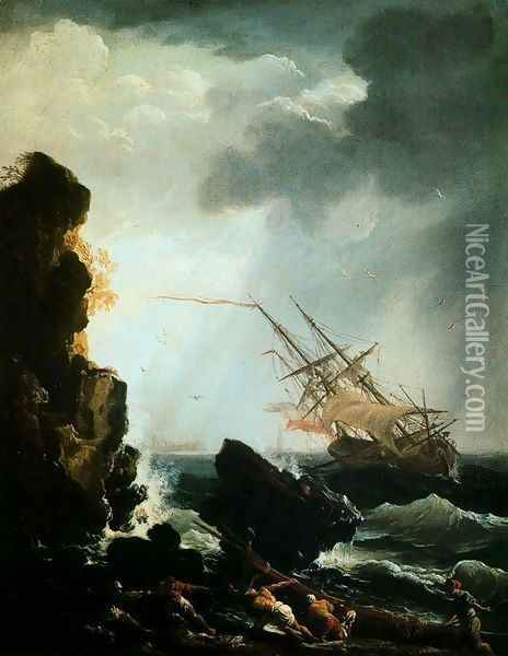 The Sinking Oil Painting - Claude-joseph Vernet