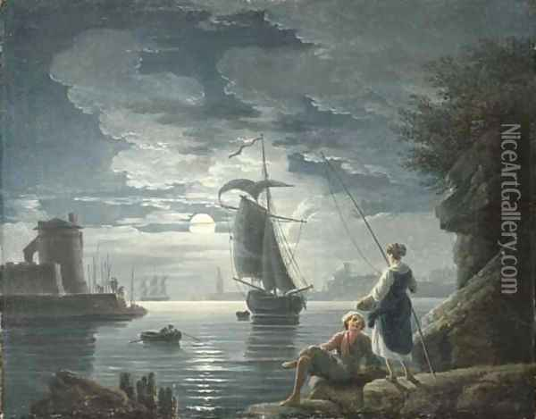 A rocky harbour by moonlight with a peasant couple conversing in the foreground Oil Painting - Claude-joseph Vernet