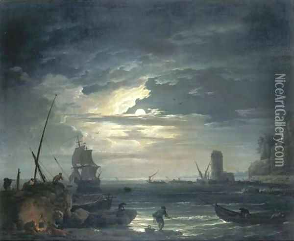 A Mediterranean inlet by moonlight with fisherfolk cooking by a rock, a three-master about to drop anchor and a tower beyond Oil Painting - Claude-joseph Vernet