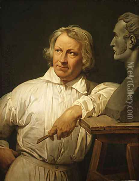 Bertel Thorvaldsen with the Bust of Horace Vernet Oil Painting - Claude-joseph Vernet
