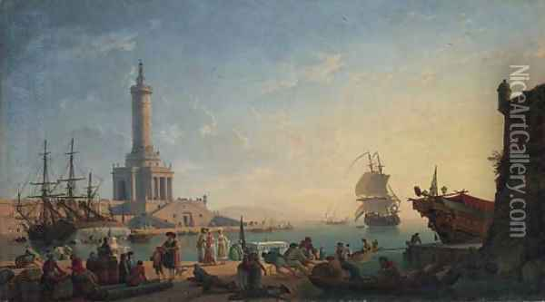 A Mediterranean harbour at sunset with fisherfolk and merchants on a quay, a lighthouse beyond Oil Painting - Claude-joseph Vernet