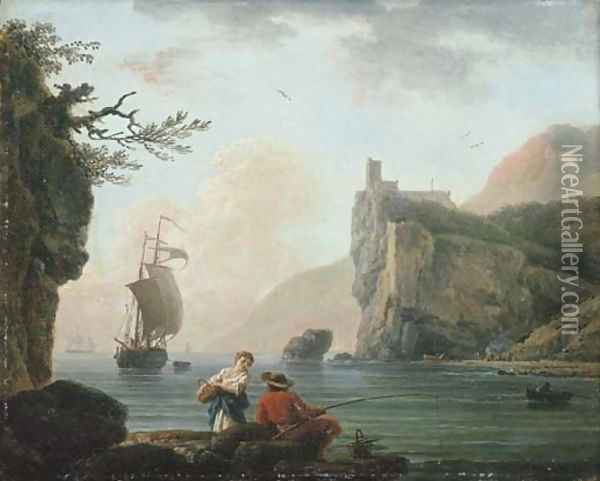 A rocky coastal landscape with a fisherman talking to a peasant girl Oil Painting - Claude-joseph Vernet