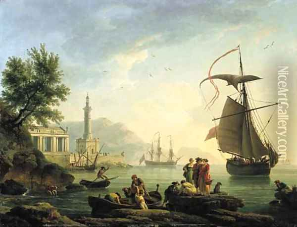 A Mediterranean harbour at sunset with fisherfolk on a quay Oil Painting - Claude-joseph Vernet