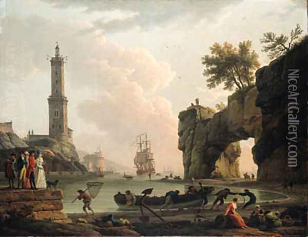 A Mediterranean harbour at sunset, with the artist, his daughter Emilie Chalgrin, his son Carle Vernet, his daughter-in-law, Fanny Moreau Oil Painting - Claude-joseph Vernet