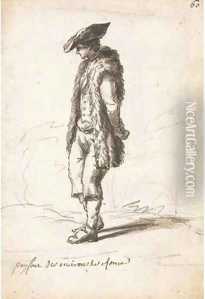 A peasant wearing a sheepskin coat Oil Painting - Claude-joseph Vernet