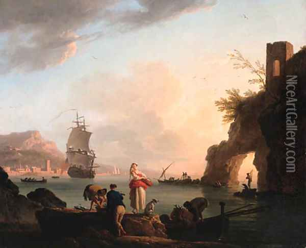 La Peche heureuse A Mediterranean coast at sunset with fisherfolk unloading a catch near a natural arch, a frigate offshore, and a city beyond Oil Painting - Claude-joseph Vernet