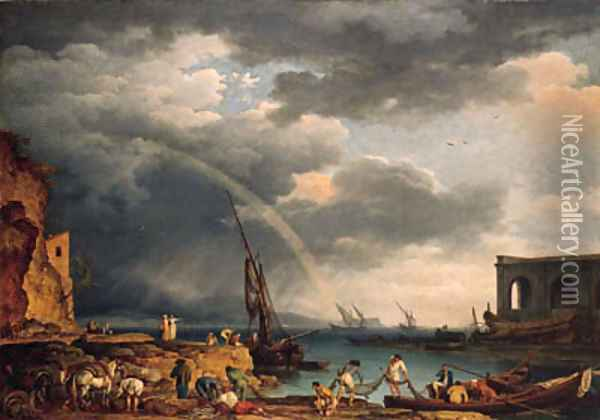 L'Arc en Ciel an Italianate coastal view with a rainbow, fishermen and peasants at an inlet in the foreground, a shipwright's yard beyond Oil Painting - Claude-joseph Vernet