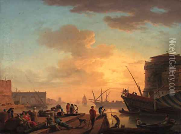 Le Soir A Mediterranean harbour at sunset with fisherfolk and merchants on a quay Oil Painting - Claude-joseph Vernet