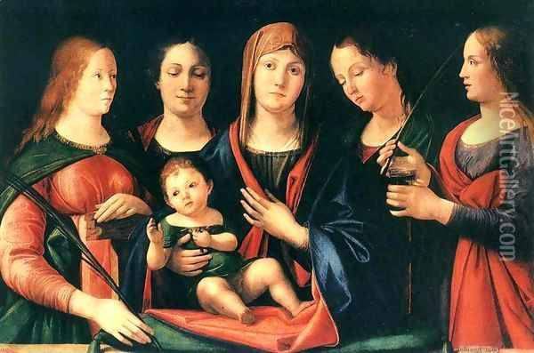 Mary and Child with Sts Mary Magdalene and Catherine 1504 Oil Painting - Alvise Vivarini