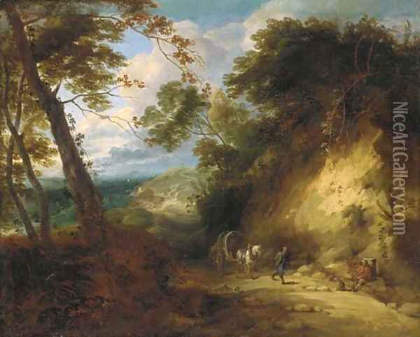 A wooded landscape with travellers on a path Oil Painting - Lodewijk De Vadder