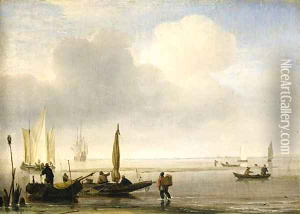 Two fishing boats off a spit of sand in a calm, with other shipping in an estuary Oil Painting - Willem van de Velde the Younger