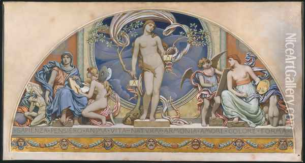 Rome, Representative of the Arts: design for decoration in Bowdoin College, 1894 Oil Painting - Elihu Vedder