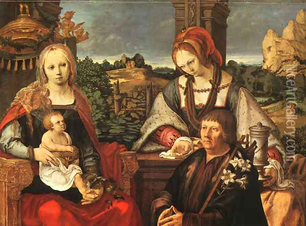 Madonna and Child with Mary Magdalene and a Donor Oil Painting - Lucas Van Leyden