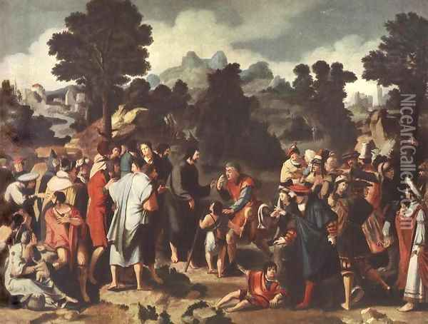 Christ Healing the Blind 1531 Oil Painting - Lucas Van Leyden