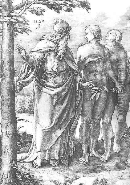 Adam and Eve (Expulsion from the Paradise) 1510 Oil Painting - Lucas Van Leyden