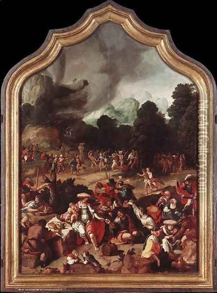 Worshipping of the Golden Calf c. 1530 Oil Painting - Lucas Van Leyden