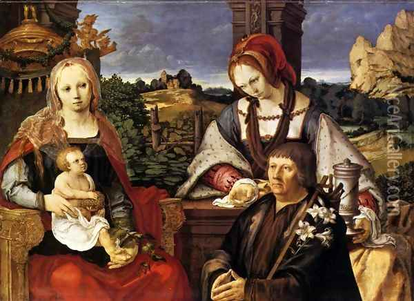 Virgin and Child with the Magdalen and a Donor 1522 Oil Painting - Lucas Van Leyden