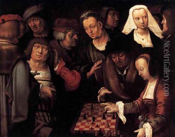 The Game of Chess Oil Painting - Lucas Van Leyden
