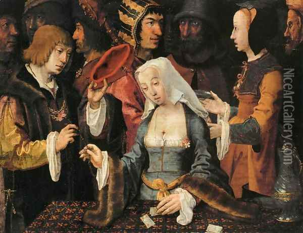 Fortune-Teller with a Fool Oil Painting - Lucas Van Leyden