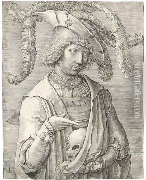 Young Man with a Skull (Holl. 174 I) Oil Painting - Lucas Van Leyden