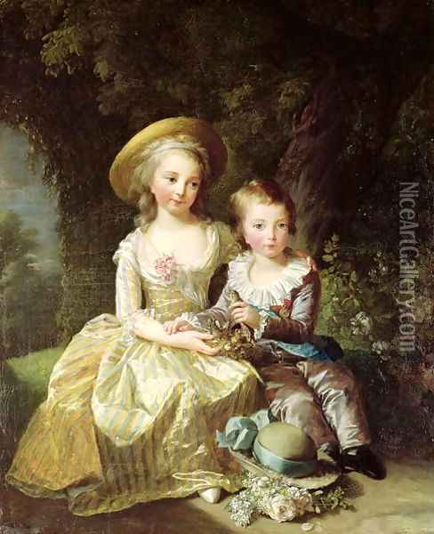 Child portraits of Marie-Therese-Charlotte of France 1778-1851, future Duchess of Angouleme, and Louis-Joseph-Xavier of France 1781-89 Premier Dauphin, 1784 Oil Painting - Elisabeth Vigee-Lebrun