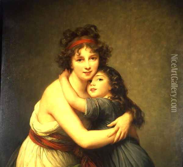 Madame Vigee-Lebrun and her Daughter, Jeanne-Lucie-Louise 1780-1819 1789 Oil Painting - Elisabeth Vigee-Lebrun